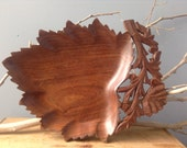 VINTAGE DECOR...wood carving tray platter ~ boho rustic cottage ~ party decoration ~ office decor