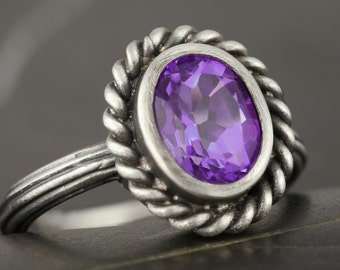 Sterling silver antique style ring with amethyst - Made using real antique tools