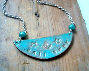 Leather Pendant Necklace - Sail Away. Pearl Jewelry Leather Jewelry Aqua Blue Summer Beachy Nautical Jewelry Gifts For Her Hand Stamped