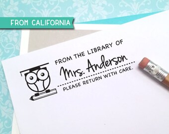 custom LIBRARY STAMP with proof from USA, self inking or rubber stamp, Gifts for Teacher, Book Lover, Book Worm, Custom Stamp, Owl Stamp 11