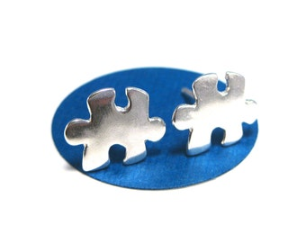 Sterling Silver Puzzle Piece Earrings, Puzzle Studs, Autism Awareness Jewelry