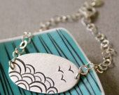 Sterling Silver Bracelet with Japanese Wave Pattern, Adjustable, Silver Chain - The Sea - Big shape
