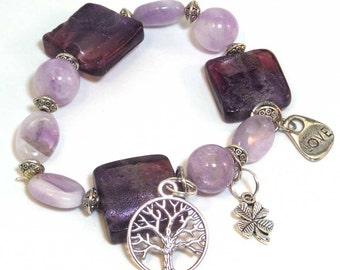 Amethyst Gemstone Beaded Bracelet - Amethyst Charm Bracelet - Purple Gemstone Bracelet -February Birthstone