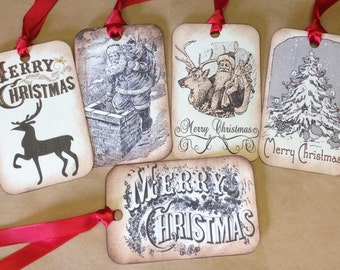 RUSTIC Christmas Gift TAGS - Vintage Inspired - Set Of 5 Assorted Vintage Santas Reindeer Christmas Tree Merry Christmas - Set F