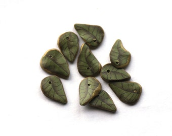 Fall Leaf Beads, Polymer Clay Beads, Autumn Green Cane Beads 10 pieces