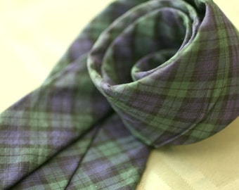 Blue and Green Plaid Skinny Tie, Tartan vintage neck tie