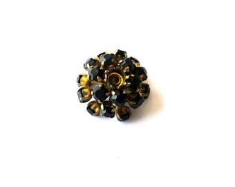 Antique vintage SWAROVSKI BEAD flower shape, metal flower with black crystals- RARE
