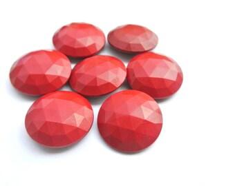 6 Antique vintage buttons, plastic buttons, red, 34mm, RARE