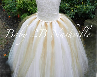 Cream Lace Flower Girl Dress, Wedding Flower Girl  Dress, Cream and Gold Tutu Dress,Wedding Flower Girl Tutu Dress All Sizes Girls