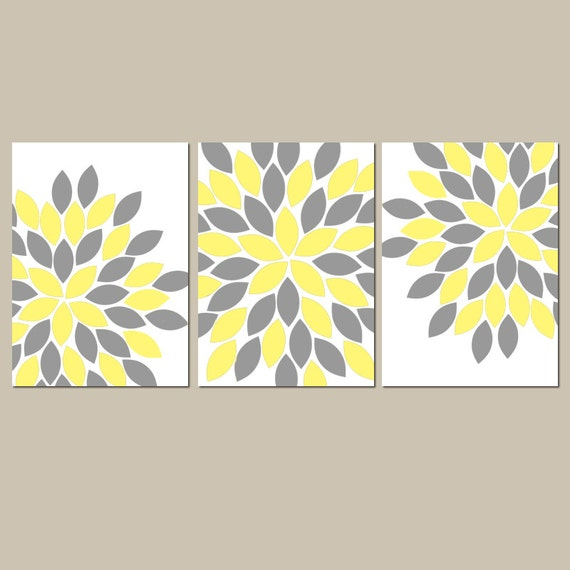 Yellow And Gray Bedroom Wall Decor : Yellow gray wall art canvas or print girl nursery bedroom