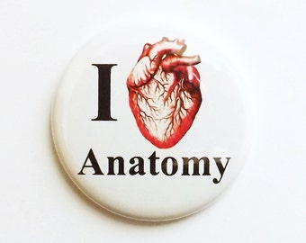 I Heart anatomy MAGNET anatomical heart geekery med student gift science biology party favors stocking stuffers human body novelty pins goth