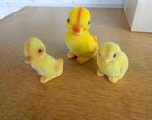 Vintage Ducks and Chick Flocked Animals Set of 3