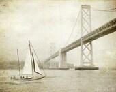 """Nautical wall art, vintage style sepia sail boat print, sailing decor, San Francisco bay bridge photograph """"Sailing the Bay"""""""