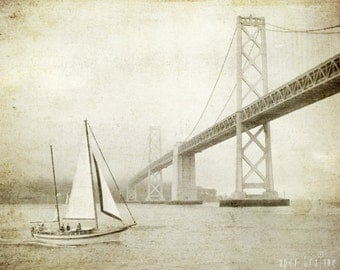 "Nautical wall art vintage style sepia sail boat print sailing decor San Francisco bay bridge photograph  ""Sailing the Bay"""