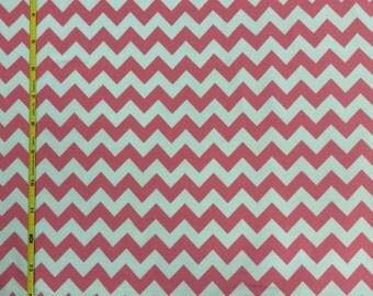 Riley Blake bubblegum pink and white chevron cotton lycra knit 1 yard