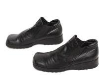 size 8.5 GRUNGE black vegan leather 80s 90s PLATFORM slip on GOTH wedge ankle boots