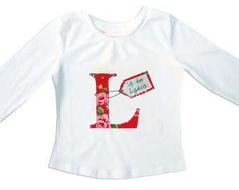 Girl's Personalized Alphabet Tee Shirt / Childrens Personalised Clothes / T-Shirt / Baby Shirt