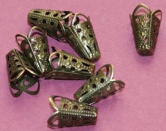 25 pcs of  antique brass filigree cone 11x16mm, antique bronze beadcap, brass filigree cone