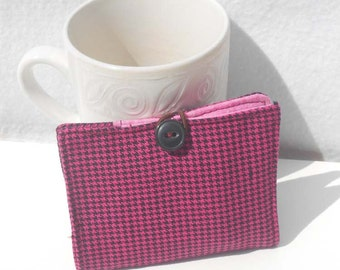 Tea Wallet, Fabric Wallet, Business Card Holder - Pink and Black Houndstooth Print Wallet