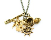 Bronze Under the Sea Charm Necklace with Dinglehopper and Snarfblat