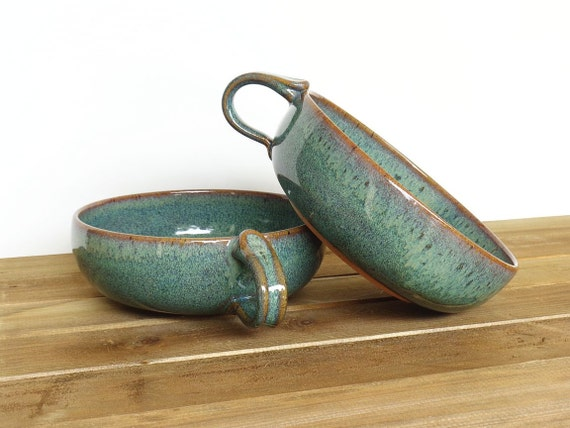 Stoneware Pottery Bowls - One Handle Soup Bowls in Sea Mist Glaze - Set of 2