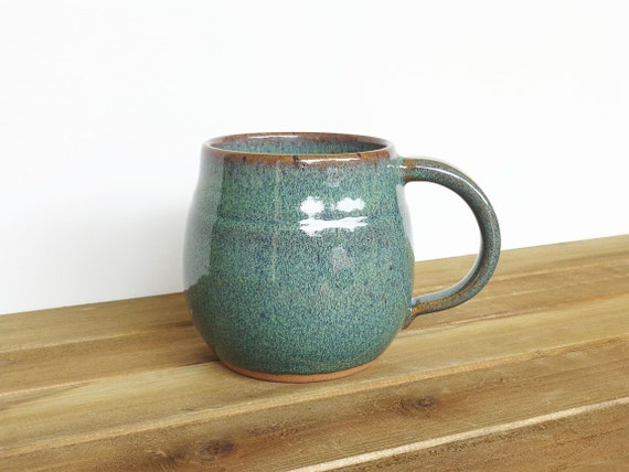 Coffee Cup Ceramic Stoneware in Sea Mist Glaze - Single Pottery Mug