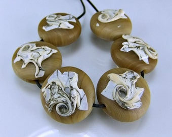 Etched Lampwork Beads Etched  Tan Silvered Ivory Organic Lampwork Glass Bead Set SRA