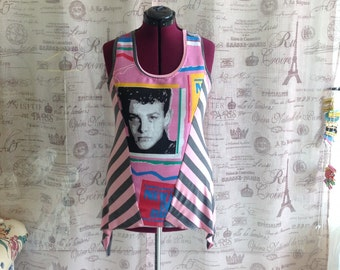 NKOTB Angled Pink Gray Stripe Tank Top 90s New Kids On The Block Shirt Joey McIntyre