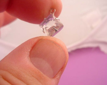 Vintage Crystal Square Unfoiled Stones 8mm  silver Settings 1 Ring Open Backs Charms Drops Dangles Earring Drops - 4 pieces