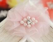 New! 4pcs Handmade Organza Flowers--light pink (FB1073)
