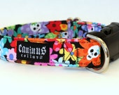 Flowers and Mini Skulls Dog Collar - Martingale & Buckle 3/4 - 2 Inch Width - XS - XXL