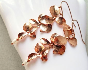 Long earrings orchid flowers pearl rose gold dangle drop earrings nature inspired women girl bridesmaid gift pink plated wedding bridal luxe
