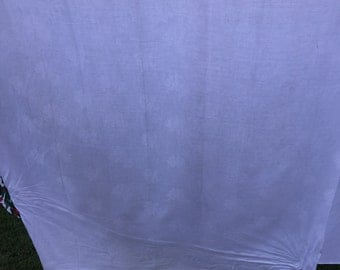 Vintage White Damask Tablecloth