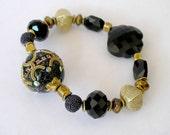 Boho Chic Bracelet- Black and Gold Beaded Stretch Bracelet- Popular Jewelry For Women