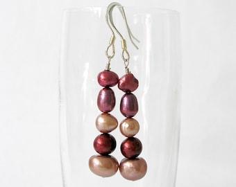 Stacked Pearl Earrings- Popular Inexpensive Genuine Freshwater Pearl Beaded Drop Earrings- Rose Palette