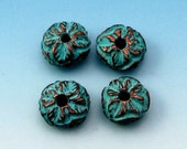 Greek Green Patina Leaf Rondelle Bead, 11 MM, 4 Pieces M388