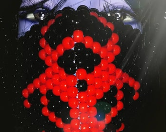 Red Biohazard Mask, Kandi Surgical Mask, Plur Rave,  Black and Red