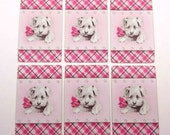 Vintage Playing Cards with Puppy Dog and Pink Bow Set of 6