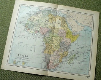 Africa 1890s Antique Map