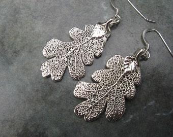 Real Leaf Earrings - Sterling Silver - Oak