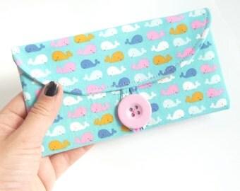 kawaii cash envelope wallet. teen girl gift. light blue whale fabric checkbook holder. coupon organizer. womens wallet