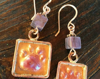 Square COPPER Paw Print Earrings - Turquoise Earrings - Dog Lover Jewelry - Dog Rescue Jewelry