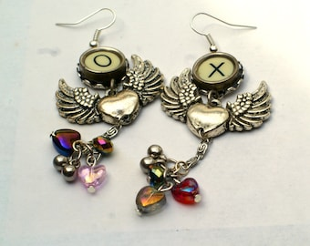 Winged Heart Vintage French Bakelite Typewriter Key Earrings - Kiss & Hug - X and O - Faceted Rainbow Beads