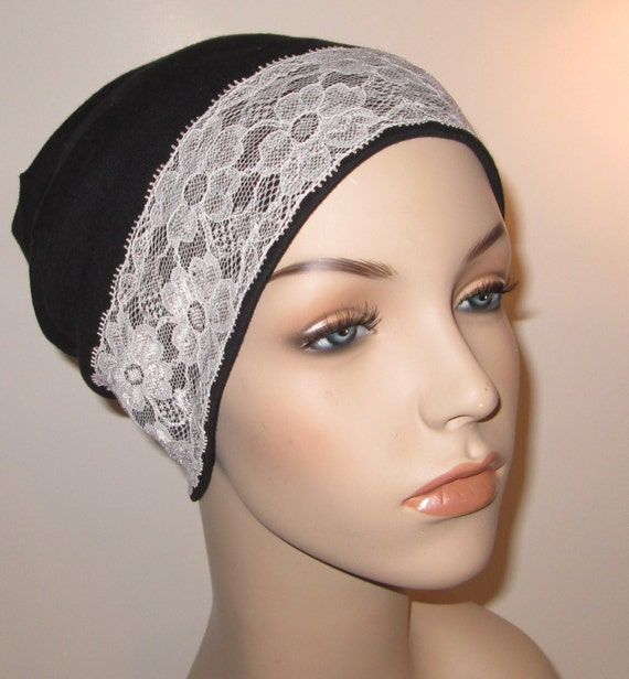 FREE SHIP USA Black Stretch Knit Sleep Cap with White Lace Trim, Cancer Hat, Hair Loss, Lounge Cap, Chemo Hat