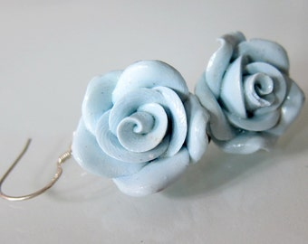 Blue Rose Earrings - Hand Crafted Polymer Clay Rose Earrings - Blue Rose Bridal Earrings - Blue Bridesmaid Earrings - Blue Wedding Jewelry