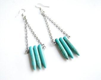 Turquoise spike earrings / hand made /  howlite / minimalist / statement earrings / dangle earrings / shoulder dusters