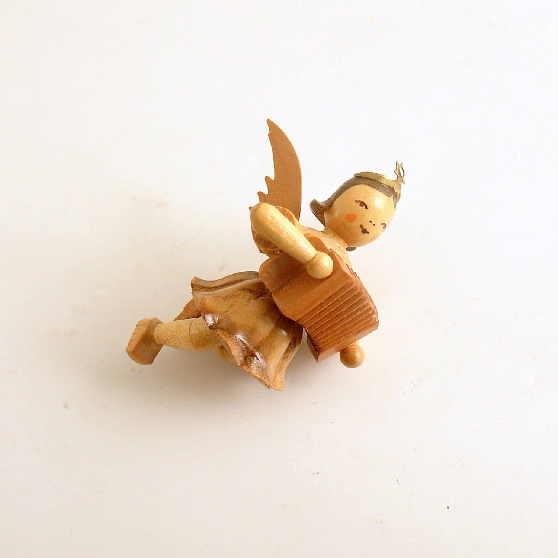 Vintage christmas angel ornament wood erzgebirge accordian