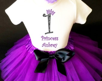 Purple Zebra Princess Crown Black 1st First Girl Birthday Tutu Outfit Custom Personalized Name Age Party Shirt Set