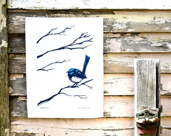 Tea Towel, Superb Fairy Wren Screen Printed Tea Towel in Cotton or Linen, Australian Native Bird, Blue Wren