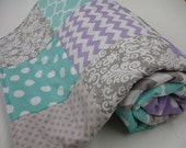 Mixed Geometrics Aqua Lavender Gray Minky Blanket You Choose Size and Minky Color MADE TO ORDER No Batting
